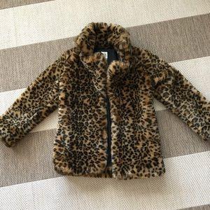 Girls gap leopard faux fur coat